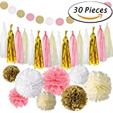 Paxcoo 30 Piezas de color rosa y papel de pañuelo de papel Pom Poms Flores Garganta de borla para cumpleaños Decoraciones de Boda