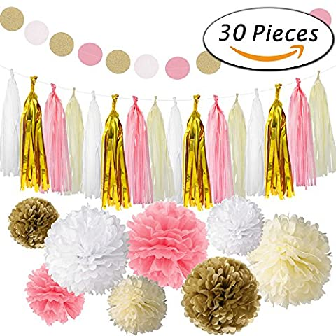 Paxcoo 30 Pcs Pink and Gold Tissue Paper Pom Poms Tassel Garland for Birthday Party Decorations