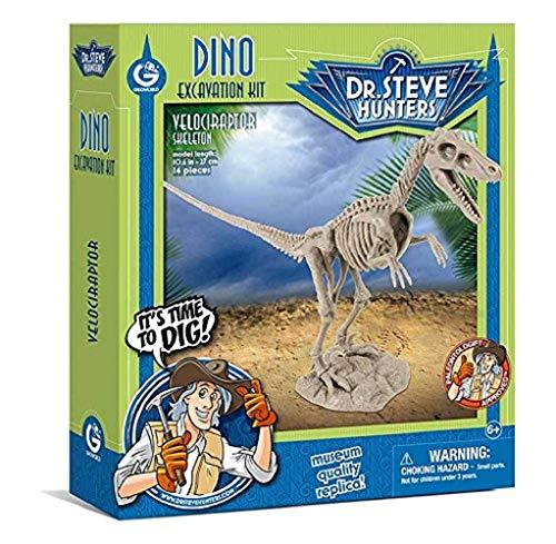 Geoworld 625264 - Dr. Steve Hunters: Dino Ausgrabungs-Set - Velociraptor-Skelett, Alter: 6+,Größe: 27 ()