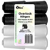 Yline Set 8 Stück Spulen Overlock - Nähgarn, weiß & schwarz, a. 2743 m, NE 40/2, 100% Polyester, Nähfaden, Nähmaschinen Garn, 3065