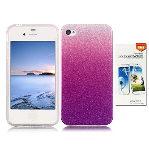OuDu Cover iPhone 4/4S Custodia di Polvere Glitter con Sfumatura di Colore Cover TPU Silicone Cassa Gomma Soft Silicone Case Bumper Custodia Morbida - Viola Scuro