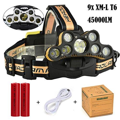 Lampes Frontales,45000 LM 9 x XM-L T6 LED rechargeables Puissante 6 Modes Adjustable Lampe Torches USB Rechargeable Etanche Parfait pour l'Escalade,le Camping, la Pêche, le Cave,le VTT (Jaune)