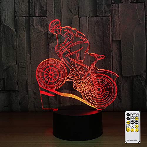 Mddjj Remote Control Mountain Bike 3D Night Light 7 Colors Lamp Usb Led Lamp Sleeping Lamp As Home Decoration New Year Gift Drop Ship Schlafzimmerdekoration