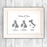 Wedding present/Personalised anniversary map gift/Civil partnership gift/met engaged married country maps VA031