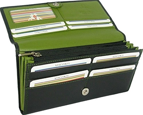 New ladies Visconti Colorado soft leather two tone black/lime green purse wallet Style CD21