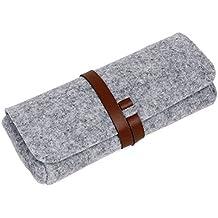 EQLEF® Sonnenbrille-Glas-Box mit Kunstleder mit Riemen Streifen Gürtel