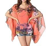 Dizoe Camisetas y Tops Blusas y Camisas Mujer Estampadas Flores Caftan Playa Gasa Tallas Grandes