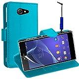 VCOMP Sony Xperia M2 Aqua D2403 D2406: Custodia portafoglio cuoio PU A libro falda supporto video + pennino - BLU