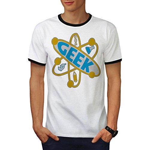 wellcoda Atom Wissenschaft Komisch Geek Männer T-Shirt ZurückGeek Grafikdesign-T-Stück