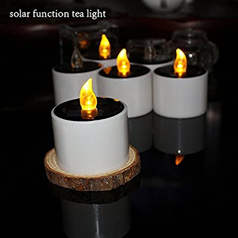 Kalulu Solar Power LED Tealight Flickering Flameless Candle Electronic Nightlight Pillar Tea Light,Use for Halloween Christmas Holiday,Wedding,Birthday,Home Decoration and Outdoor Camping.Pack of 6,(Yellow Flickering)