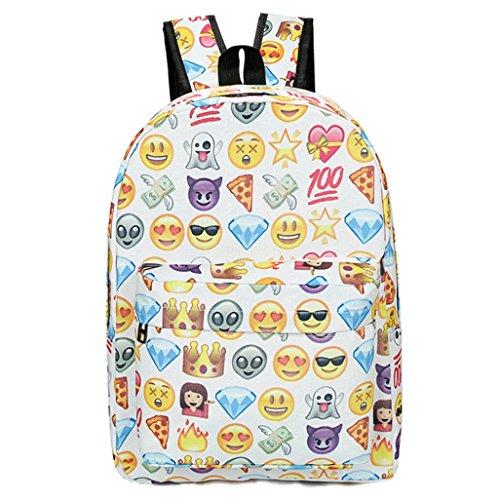 Imagen de emoji , imprimir cara  escuela bolsas para adolescentes niñas niños by venmo blanco