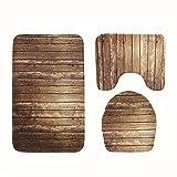 bd jfew AISSION Bad Classic 3-tlg Badezimmer Teppich Sets Holz gestreiften Microfaser Rutschfeste wc Matte, Badematte + Sockel Mat + WC Sitz Deckel Matte, EIN