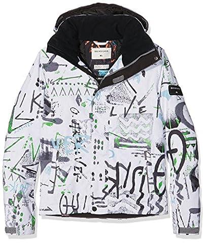 Quiksilver Mission Printed Youth Veste de Ski Garçon, Hieline Wht,
