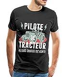 Spreadshirt Agriculteur Pilote De Tracteur T-shirt Premium Homme, S, noir...