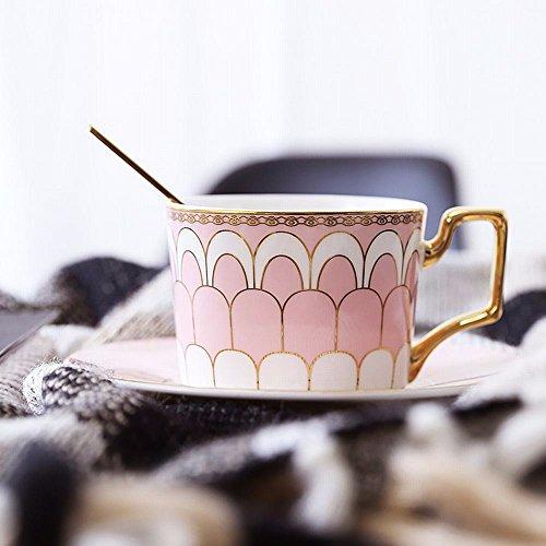 WU-Mug Phnom Penh la tasse à café céramique café continental cup saucer Set home après-midi thé Fleur de thé simple tasse tasse avec la cuillère, rose -Un