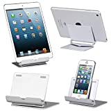 TRIXES Silver Aluminium Folding Adjustable Stand for iPhones iPads Android Windows Tablets & Smartphones