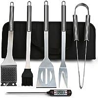 6 in 1 Grillbesteck Koffer + BBQ Thermometer Bify Edelstahl Grillbesteck-Set 6-Teile im Aluminium BBQ Grill Zubehör mit Tragetasche