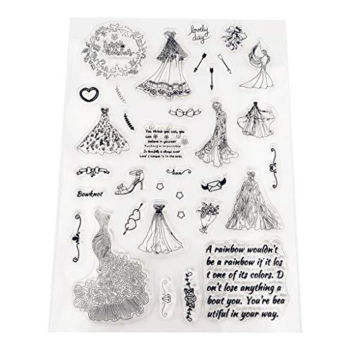 bulingLU - Timbro in silicone trasparente per abito da sposa, fai da te, scrapbooking, goffratura, album fotografici decorativi, biglietti, regali fatti a mano