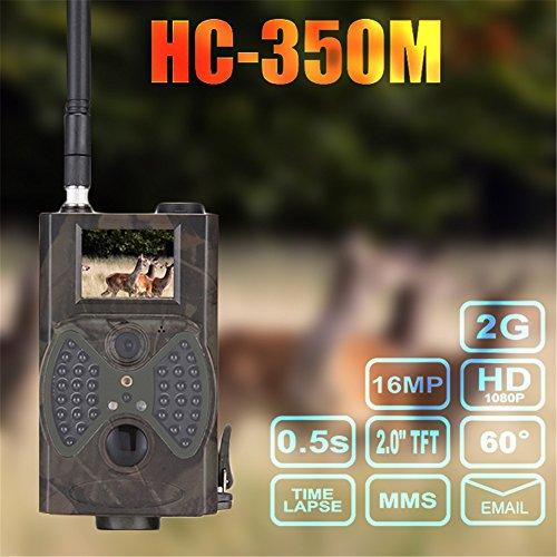HC-350M Wildkamera Fotofalle 16MP SMS MMS SMTP HD Jagdkamera Infrarote 20m Nachtsicht, Trail Spiel Wildlife Kamera mit 2.0