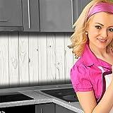 Küchenrückwand < Holzwand Weiß > Premium Hart-PVC 0,4 mm selbstklebend 340x60cm