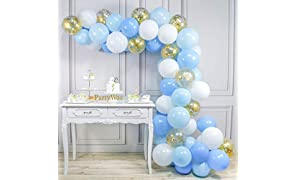 PartyWoo Blue and White Balloons, 70 pcs 12 in Pale Blue Balloons, Baby Blue Balloons, White and Gold Confetti Balloons, Gold and Light Blue Balloons for Blue Baby Shower Balloons, Blue Birthday Party