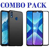 ADRY 5D Tempered Glass & Candy Black Soft Case Cover For Huawei Honor 8X