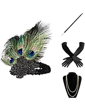 BABEYOND 1920 Flapper Accesorios Años 20 Disfraz Gatsby Conjunto de Flapper Acessorios (Diadema Collar de Perlas...