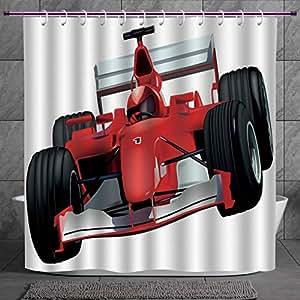 Stylish Shower Curtain 20 CarsFormula Race Car With The Driver Automobile Motorized Sports