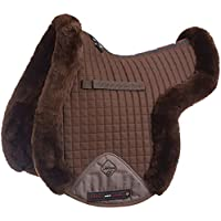 LeMieux cordero GP (piel de cordero, forrado), Unisex, Lambswool Gp/Jumping Fully Lined Numnah, Dark Brown Wool/Brown Fabric, large