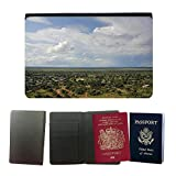 PU Pass Passetui Halter Hülle Schutz // M00292017 Afrika Himmel Steppe Savannah Blau // Universal passport leather cover