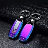 ETbotu Metal USB Charging Electronic Cigarette Lighter Windproof Lighter with Key Chain Flashlight Colorful ice 10.8 * 2.8 * 1.1