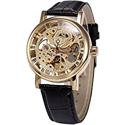 AMPM24 Mens Mechanical Wrist Watch Skeleton Hand Wind Up Gold Dial Black Leather Strap + AMPM24 Gift Box PMW358