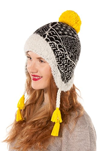 Alpaka-Mütze SOL Bouclé-Strick Jaquard-Muster Bommel-Haube Damen von APU KUNTUR Größe L (Alpaka Chullo Strickmütze)