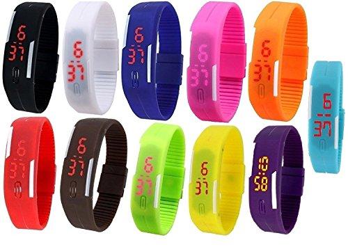 Pappi-Haunt Pack de 11 Relojes unisex con banda LED digital, artículos de regalo para niños, cumpleaños, fiesta