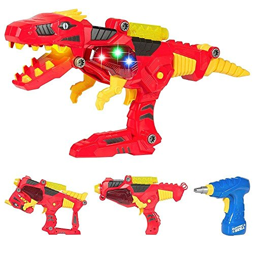 Dinosaur Toy Blaster, 2 in 1 Transformers Toys For Kids � Build & Take Apart Cool Tyrannosaurus Rex Dinosaur Toy for Boys & Girls Aged 3+, Best Gift Kits with Light & Sound