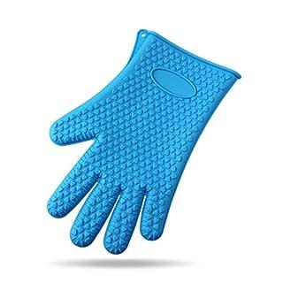 Alohha hitzebeständig BBQ Handschuhe Paar Silikon Ofenhandschuhe und Topflappen für Küche Kochen Backen Grill Blue01