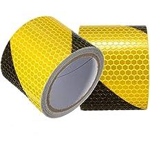 tuqiang® 3m Nero con giallo nastro twill catarifrangenti etichetta avvertimento di sicurezza conspic uity notte strisce riflettenti Adesivi Tape film