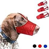 RockPet Hundemaulkorb Anzug, 1 Set mit 3 Stück verstellbarem Nylon Maulkorb für kleine mittelgroße Hunde verhindert das Beißen, Bellen und Kauen (M,Rot)
