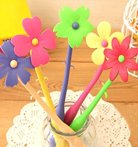 set-de-5-stylo-a-bille-coude-creative-frais-et-simple-forme-de-fleur-les-couleurs-peuvent-varier