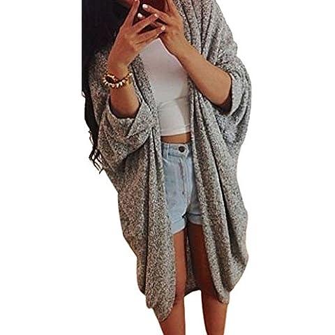 OverDose Para mujer mayor de los zapatos de punto de la manga del suéter capa de la chaqueta de la rebeca
