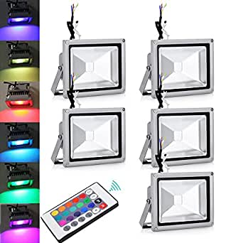 5x 20w rgb led projecteur led couleur changeante ext rieur for Projecteur led interieur