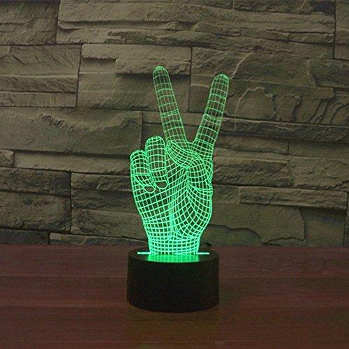 Lampe 3D ILLUSION Lichter der Nacht, kingcoo 7Farben LED Acryl Licht 3D Creative Berührungsschalter Stereo Visual Atmosphäre Schreibtischlampe Tisch-, Geschenk für Weihnachten, Kunststoff, la victoire 0.50 wattsW - 3