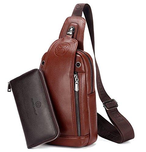 YAGGLE 2-teilig Leder Tasche Outdoor Military Messenger Schultertasche mit Geldbörse Reisezubehör Body Bag Sack rotbraun