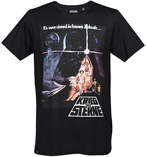 GOZOO Star Wars 40 Years T-Shirt Hombre Krieg Der Sterne Movie Poster Negro M