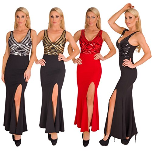 4928 Fashion4Young Langes Damen Kleid Maxikleid Abendkleid Party Pailletten Kleid Bodycon (schwarz-gold, 34-36) - 4
