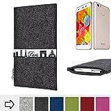 flat.design für Vestel V3 5570 Schutzhülle Handy Case Skyline mit Webband Paris - Maßanfertigung der Schutztasche Handy Hülle aus 100% Wollfilz (anthrazit) für Vestel V3 5570