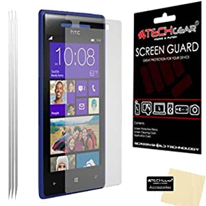 [Pack Of 3] TECHGEAR® HTC WINDOWS PHONE 8X CLEAR Screen Protector Covers With Cleaning Cloth & Application Card