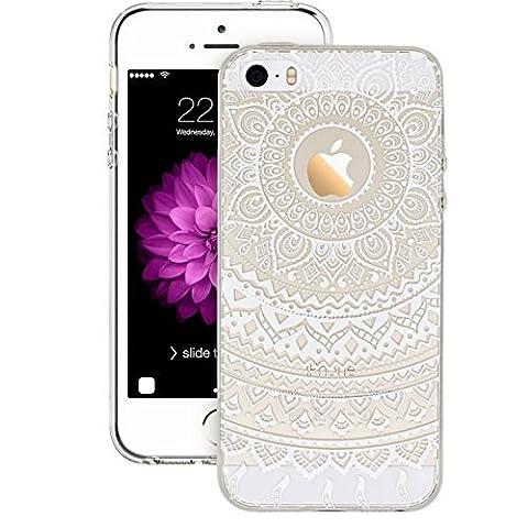 3H Coque de protection en silicone antichocs pour iPhone 6/6S Transparent 11,9cm, plastique, White Tribal Mandala, iPhone 5/5S/5SE