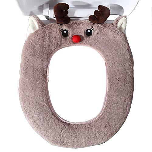 Gifts Treat WC-Sitzbezüge Cute Animal Style WC Zubehör Weiches Plüsch Bad Wärmer Matte (Elch)