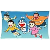 Decorative Cotton Pillowcase Printed Japanese Anime Doraemon Pillow Case for Children Size 20x36